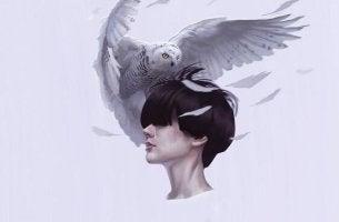 Hohe Erwartungen - Eule auf dem Kopf eines Menschen