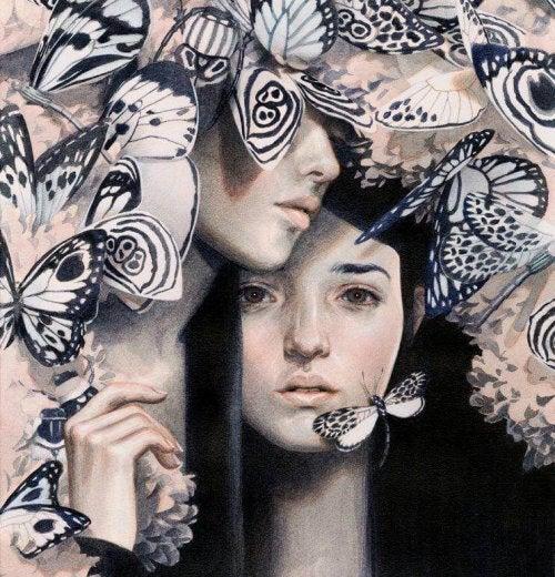 Trauriges Paar hinter Schmetterlingen