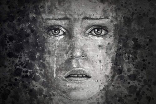 Gesicht einer weinenden Frau