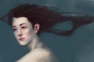 Frau, die andere für ihre Probleme verantwortlich macht - Frau mit nacktem Oberkörper vor dunklem Hintergrund
