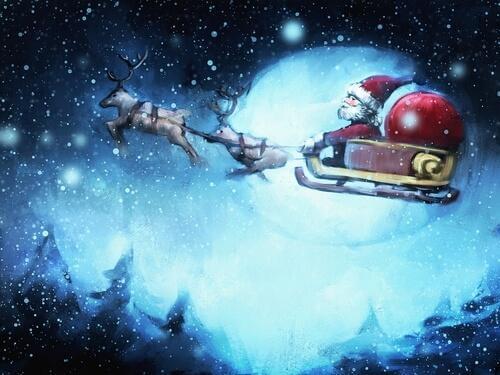 Weihnachtsmann mit Schlitten am Himmel