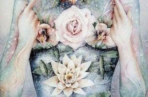 Eine zeichnerische Darstellung einer Frau mit Blumen in der Hand