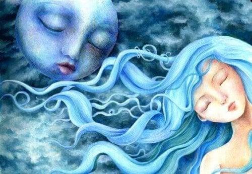 Frau und Mond