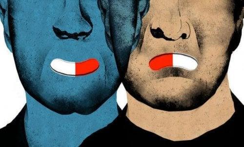 Menschen mit Pillen als Mund