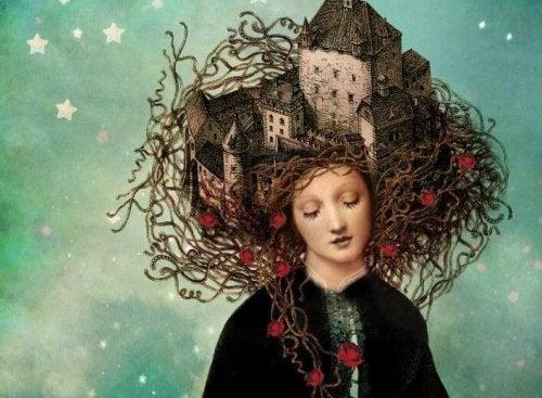 Frau mit einer Burg in ihren Haaren