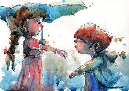 Freunde teilen einen Regenschirm