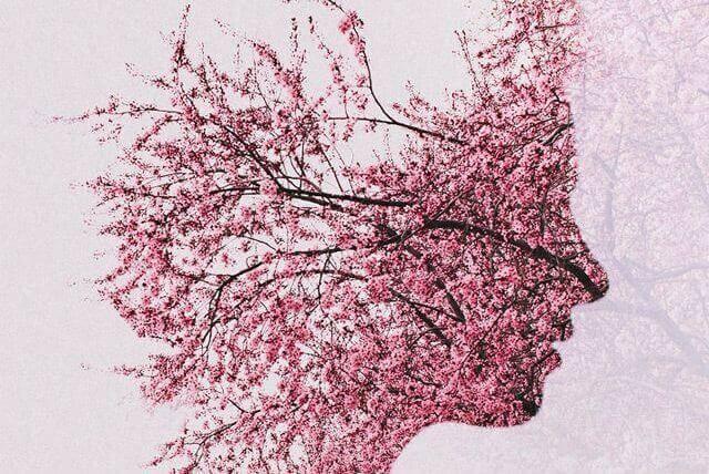 Profil aus Blüten repräsentiert das Vergessen aufgrund von Morbus Alzheimer