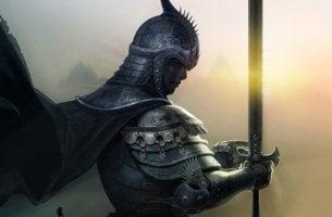 Der Ritter in der rostigen Rüstung - Ritter hält ein Schwert