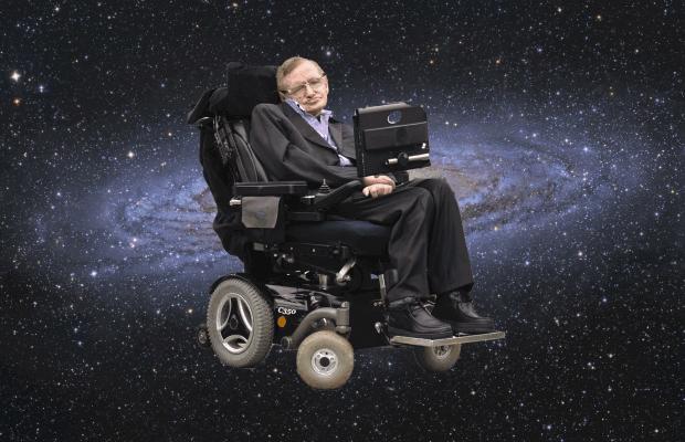 Stephen Hawking vor einer Galaxie