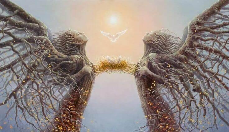 Zwei Baumengel verbinden sich Herz zu Herz. Über der Verbindung schwebt eine Taube.