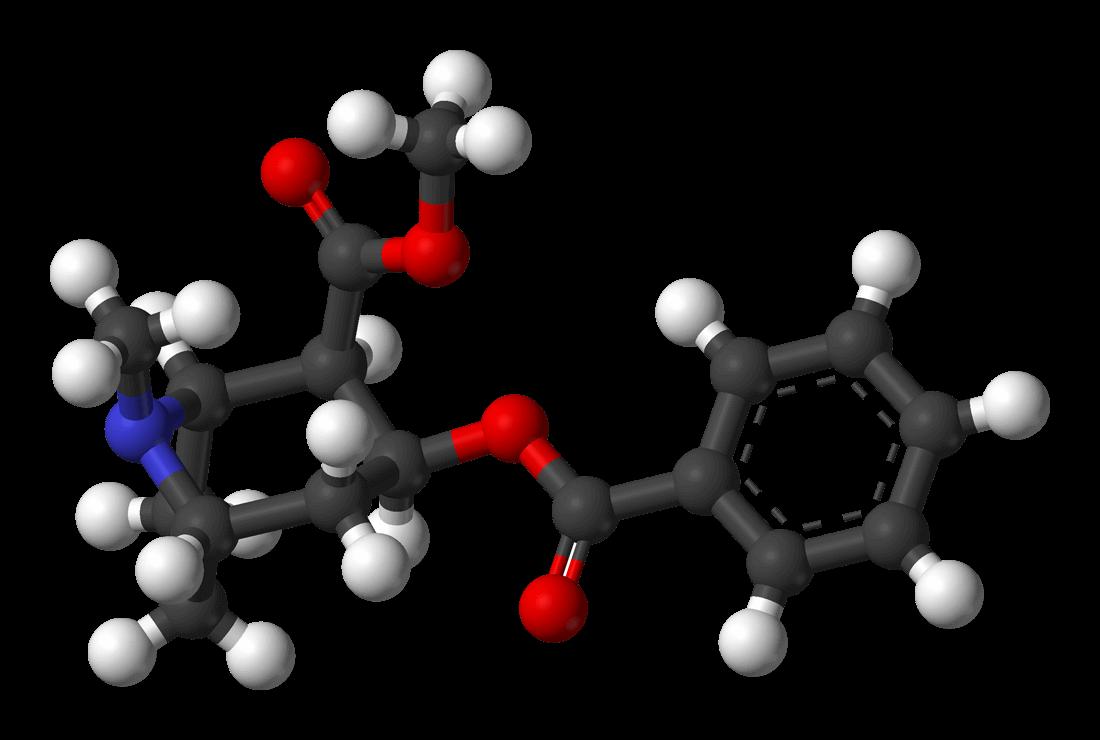 Die chemische Formel von Kokain-Hydrochlorid.