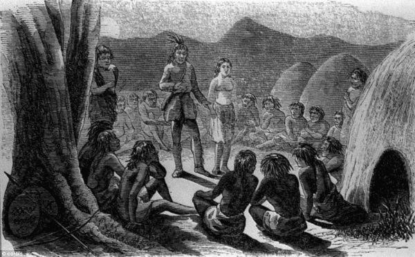 Olive Oatman inmitten eines Stammes