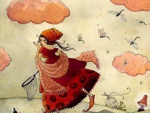 Eine Frau fängt Libellen