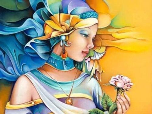 Zeichnung einer Frau mit bunter Kopfbedeckung, die eine Rose hält