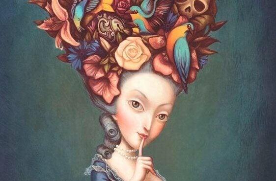 Erpressung und Zwang - manipulative Frau mit Blumen im Haar
