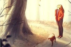 Das machst du gut - Frau geht mit ihrem Hund Gassi