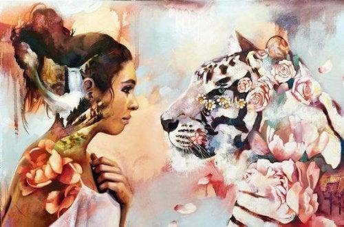 Bunte Zeichnung einer Frau, die einem Tiger in die Augen starrt