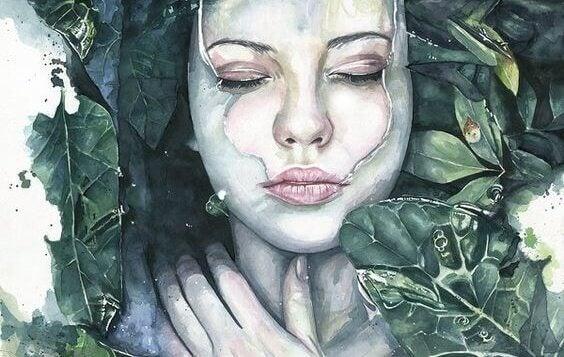 Eine Frau liegt mit dem Gesicht nach oben im Wasser. Das Wasser ist kurz davor, in Mund und Nase einzudringen.