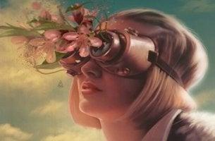 Liebesleiden - Zeichnung einer Frau mit Fernglas, aus welchem Blumen wachsen