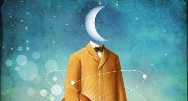 Oberkörper mit Mond als Kopf vor Sternenhimmel
