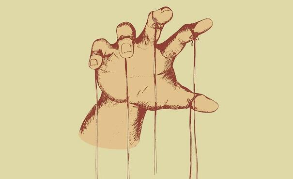 Zeichnung einer Hand, die die Fäden einer Marionette hält