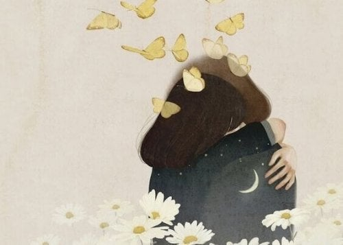 Zwei Menschen umarmen sich unter Schmetterlingen