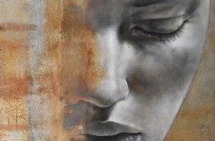 Was verbirgt sich hinter Maßlosigkeit - graues Gesicht mit geschlossenen Augen