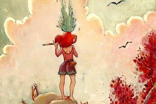 Ein Mädchen auf einem Berg spielt Flöte.