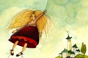 Komfortzone verlassen - Ein Mädchen fliegt mit einer Wolke.