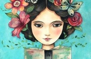 Aufbauende Zitate - Mädchen mit Blumen im Haar liest