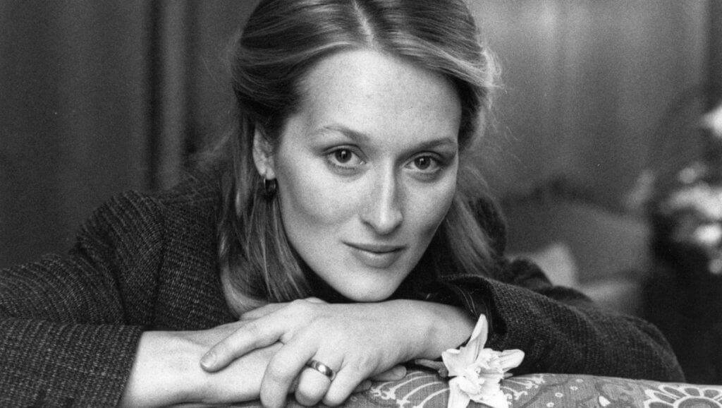 Schwarz-Weiß-Bild von Meryl Streep