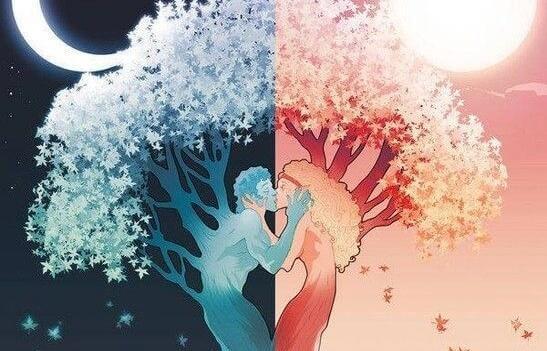 Mann und Frau küssen sich, aus ihnen entsteht ein Baum