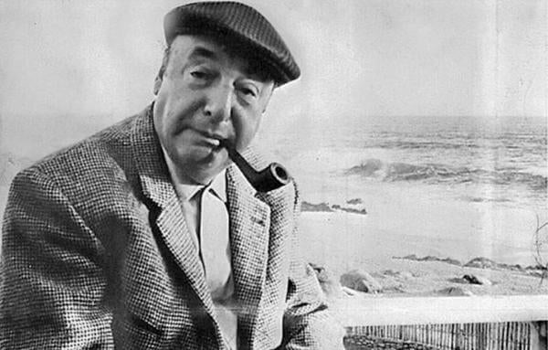Pablo Neruda als Schwarz-Weiß-Fotografie