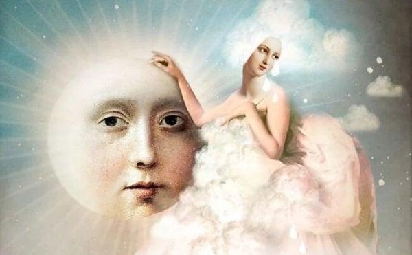 Wolke in Form einer Frau mit Sonne
