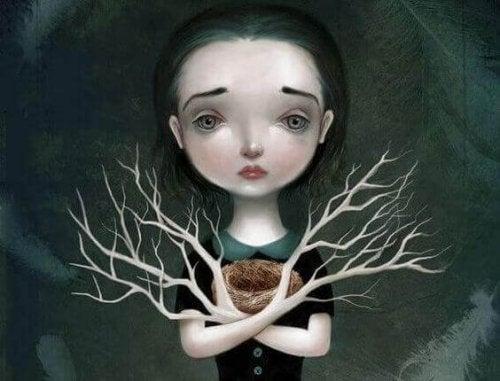 Trauriges Mädchen mit Ästen als Arme
