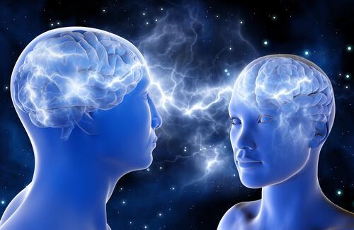 Zwei menschenartige Außerirdische verbinden im All ihre Gedankenströme.
