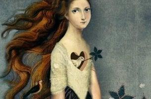 Schöne Zitate - Vogel im Herzen einer Frau