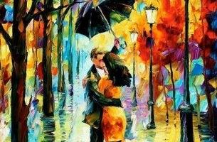 Zitate über die Liebe - Paar unter Regenschirm