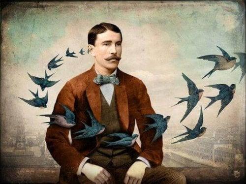 Mann, an dem viele Vögel vorbeifliegen