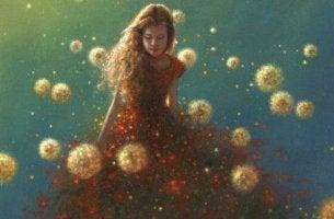 Die Welt verbessern - Frau inmitten von Pusteblumen