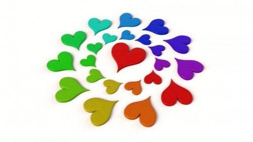 Bunte Herzen, die einen Kreis bilden