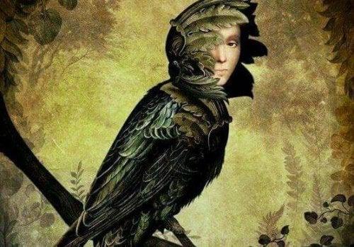 Vogel mit dem Gesicht eines Menschen