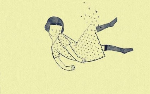 Fallendes Mädchen