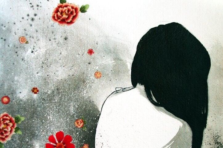 Zeichnung einer einsamen Frau, die uns den Rücken zuwendet.