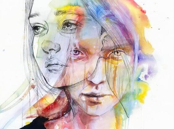 Zeichnung von zwei Gesichtern einer Person, eines schaut den Emotionen ins Gesicht, das andere schaut weg.