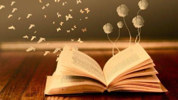 Aus einem aufgeschlagenen Buch fliegen Schmetterlinge, Vögel und Blumen heraus.