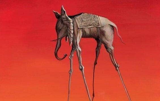 Les Éléphants - Gemälde mit Elefant
