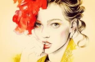 Beziehungskrise - Zeichnung einer Frau, in gelb und rot gehalten, die sich auf die Nägel beißt.