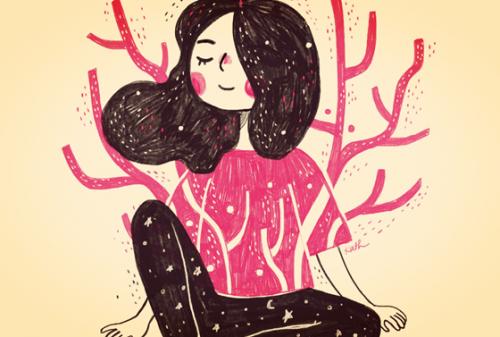 Frau, die meditiert, ihre Polaritäten akzeptiert und zu sich findet