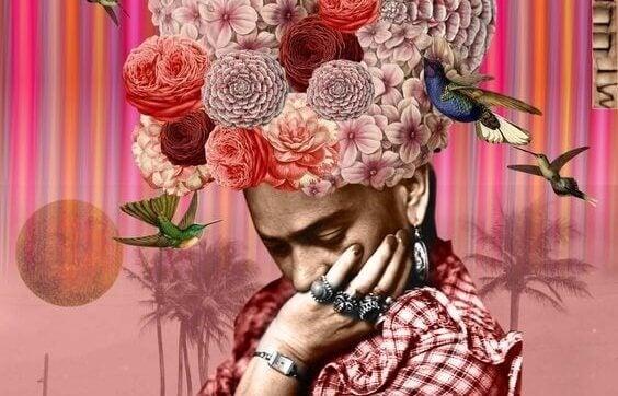 Frau mit Blumen und Kolibris